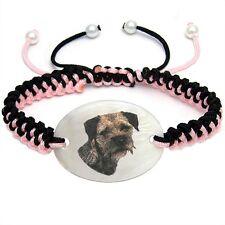 Border Terrier Mother Of Pearl Natural Shell Adjustable Knot Bracelet BS114