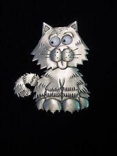 """JJ"" Jonette Jewelry Silver Pewter 'Smiling CAT ~ Head Turns ~ Eyes Move!' Pin"