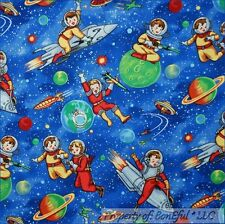 BonEful Fabric Cotton Quilt Blue White Star Sky Earth Space Planet Rocket SCRAP