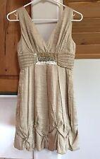 BCBG Max Azria size 0 sleeveless lined dress empire waist beige metallic