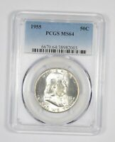 1955 MS-64 Franklin Half Dollar - 90% SILVER - PCGS Graded