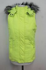 LORNA JANE BLACK Ladies Neon Yellow Faux Fur Hooded Gilet Bodywarmer Jacket S