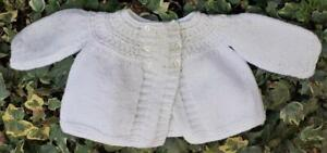 Sweet Vintage Hand Knitted Matinee Cardigan For Your Vintage Or Antique Doll