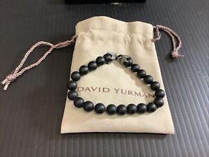 "David Yurman Men's Black Onyx Spiritual Bead Sterling Silver Bracelet 8mm 7.45"""