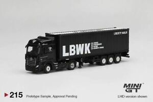 """1:64 Mercedes-Benz Actros w/40' Container """"LBWK"""" & Trailer -- Mini GT Truck"""