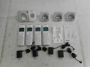 VTECH VS112-47 DECT 4 Handset Cordless Phone Set, Silver/White