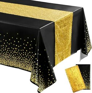 """Tablecloth Table Runner 2-PC Set, Glitter & Sequin, Black & Gold, 54"""" x 108"""""""