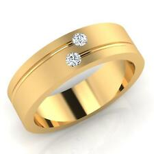 0.09 ct Real Round Diamond Engagement Mens Band 14Kt Yellow Gold Ring Size W U V