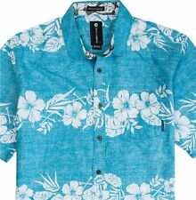 Billabong hawaiian style button up shirt men's blue large short sleeve aloha