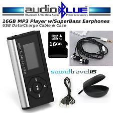 SoundTravel 16GB MP3 Media Player & Bass Headphones Cable Case Bundle