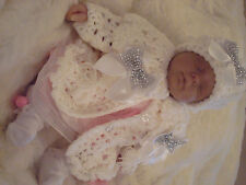 ROMANY Hand Knitted Crochet Baby Reborn doll Cardigan/coat Hat Set white 0-3M