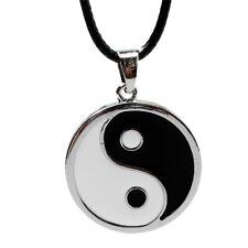 Yin Ying Yang Anhänger Schwarz Weiße Halskette Charm Mit Schwarzem Lederband