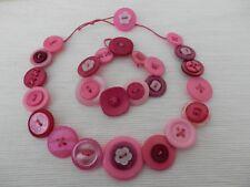 "Handmade Button Necklace (16"") & Bracelet (7.5"") Set - Shades of PINKs Mix"