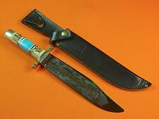 German Germany Linder Classic Solingen Engraved Large Bowie Knife w/ Sheath