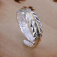 925 Sterling Silver Plated FEATHER RING Thumb/ Wrap Ring ADJUSTABLE Gold Leaf