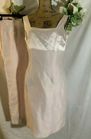 Liz Claiborne Womens  Champagne Pink Linen Silk Sheath Lined SL  Dress 10   Nwot