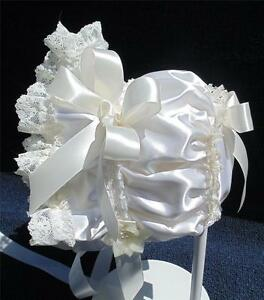 New Handmade Ivory Satin with Ivory Lace and Trim Baby Bonnet - Elegant