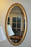 Vintage French Style Gold Gilt Large Ornate Wood  Oval Wall Mirror