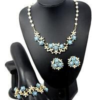VTG Enamel BLUE ROSE Flower Pearl Rhinestone Necklace Bracelet Earrings Parure