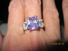 BEAUTIFUL White Gold Plate w/ Tanzanite & White Topaz Ring sz.7 ...#2183