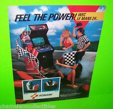 WEC LE MANS 24 By KONAMI 1986 ORIGINAL NOS VIDEO ARCADE GAME PROMO SALES FLYER