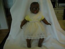 Sweet Gerber Black Baby Doll Animated Moving Eyes Yellow eyelet Dress (Ai