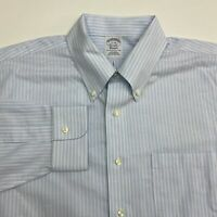 Brooks Brothers Button Up Shirt Men's Size 17 Long Sleeve Blue White Striped