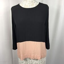 Anthropologie Sam & Lavi Women's Blouse Top Leyden Black Pink 3/4 Sleeves M