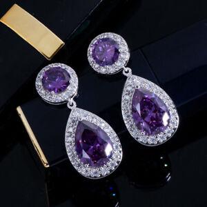 CWWZircons Classic Cubic Zirconia Purple Crystal Long Drop Earrings for Women