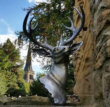 Large Stag Deer Elk Head Wall or Floor Sculpture Statue Antique Silver Look