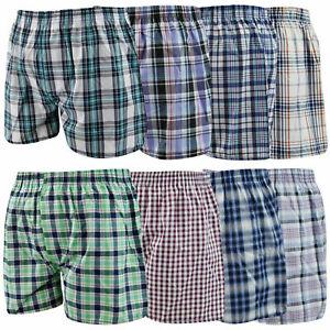 Mens Boys Woven Boxer Shorts Loose Fit Cotton 1 3 6 12 Underwear Pants All Sizes