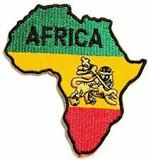 AFRICA Lion Judah Rasta Reggae Ethiopia Selassie Iron On Shirt Badge Patch 3.6""