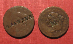 """1830's PAIR OF COUNTERSTAMPED U.S. LARGE CENTS - """"H.SAWYER"""" & """"M"""", PLEASE VIEW"""