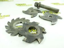 """New listing 4 Assorted Carbide Tipped Milling Cutters 1/4"""" Cut Widths W/ Arbor"""