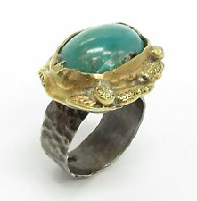 925 Silver & 18K Gold - Vintage Antique Turquoise Handmade Ring 11g - Sz 8.5