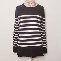 Ann Taylor LOFT Dark Navy White Striped Sweater Women's Size Small