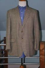 Brooks Brothers 38% Wool 31% Silk 31% Linen 2 Btn Tan Plaid Sport Coat 44R