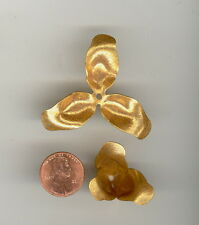 2 Vintage Russian Gold Plate Miriam Haskell Bendable Flower Beads 26mm HS89