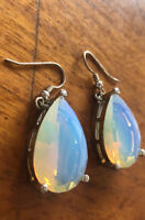 STUNNING LARGE DROP EARRINGS OPALITE VASELINE GLASS WEIGH 17G TEARDROP PEAR SHAP