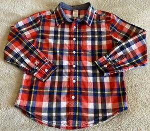 Gymboree Boys Red White Blue Plaid Collared Button Down Long Sleeve Shirt 7-8