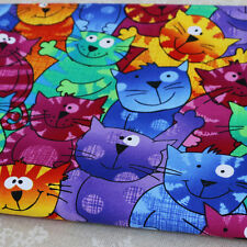 Sold By Yard 3d Cartoon cats patchwork sewing digital print fabric cotton tissue