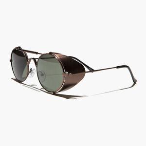 Copper Steampunk Sunglass with Folding Side Shields Green Lens - Bram