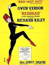 Publicidad Teatral Musical Redhead Verdon Kiley arte cartel impresión lv1173