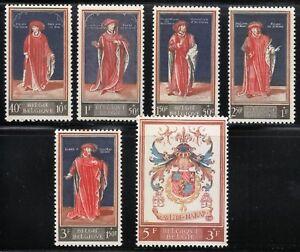 Belgium 1959 MNH Mi 1155-1160 Sc B647-B652 Portraits of Grand Masters,Emperors**