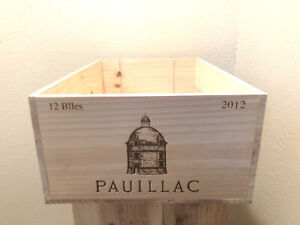 Wine Box Case Wooden Crate 12/750ml Chateau Pauillac