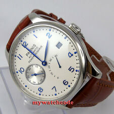 43mm parnis white dial brown strap power reserve seagull automatic mens watch128