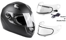Snowmobile Helmet Adult Matte Black Full Face Double Pane Shield or Heated Dot