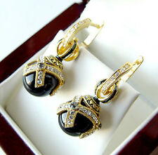 SALE ! OUTSTANDING EARRINGS MADE OF STERLING SILVER 925 ENAMEL with GENUINE ONYX