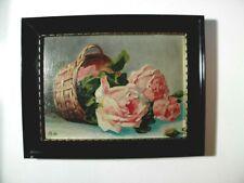 Rosen-Korb * hübsches kleines antikes Ölbild * monogrammiert & datiert 1925