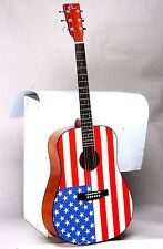 "Eleca 41"" Dreadnought Acoustic Guitar with American Flag, DAG-5-AF"